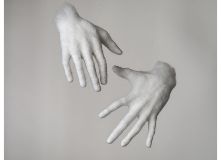 »Hands«, feltet polyester wool, approx. life size, installation view, 2013