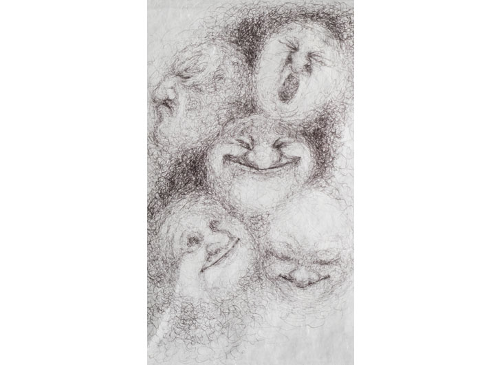»Cloudfaces«, Ballpen on Japanese tissue paper, approx. 27 x 20cm