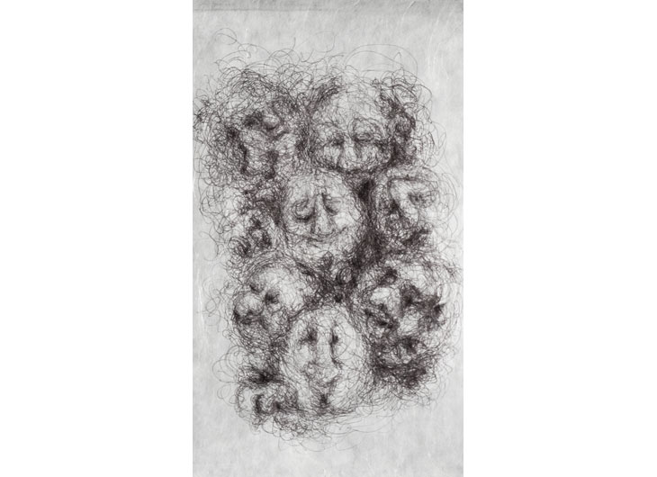 »Cloudfaces«, Ballpen on Japanese tissue paper, approx. 27 x 20cm, 2013